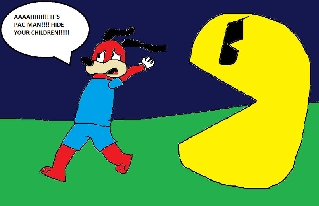 Pac-Man chases Tom MacPow by Jeremy-the-Blockhead on DeviantArt