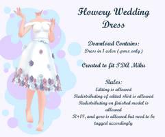 MMD Flowery Wedding Dress by Arneth-Myndraavn
