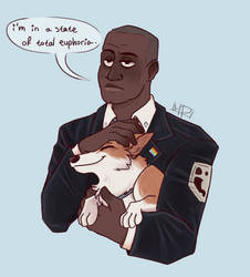 Captain Holt and Cheddar