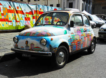 Is it a Fiat 500 or a mural on wheels?