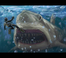 Giant Monster Shark by SaturnHaynes