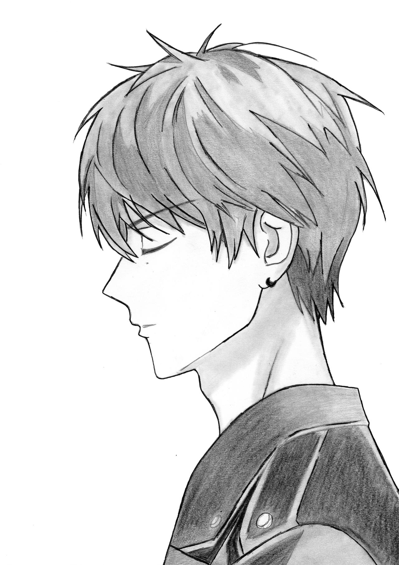 Drawing Side View Anime Boy Step By Step by ...