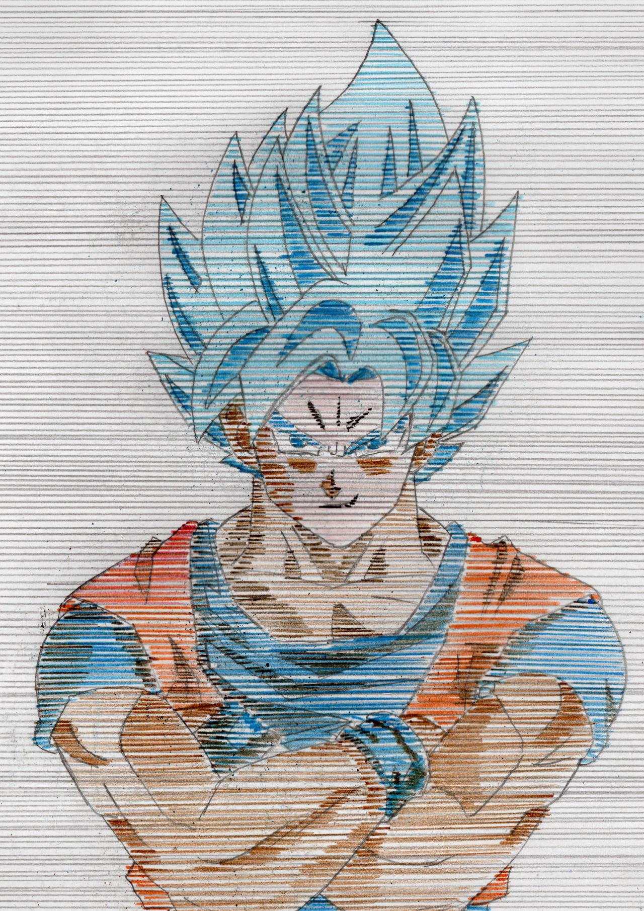 Draw Goku Super Saiyan Blue With Horizontal Lines By
