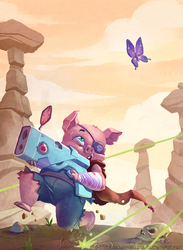 Pig  and butterfly by Yoyaan