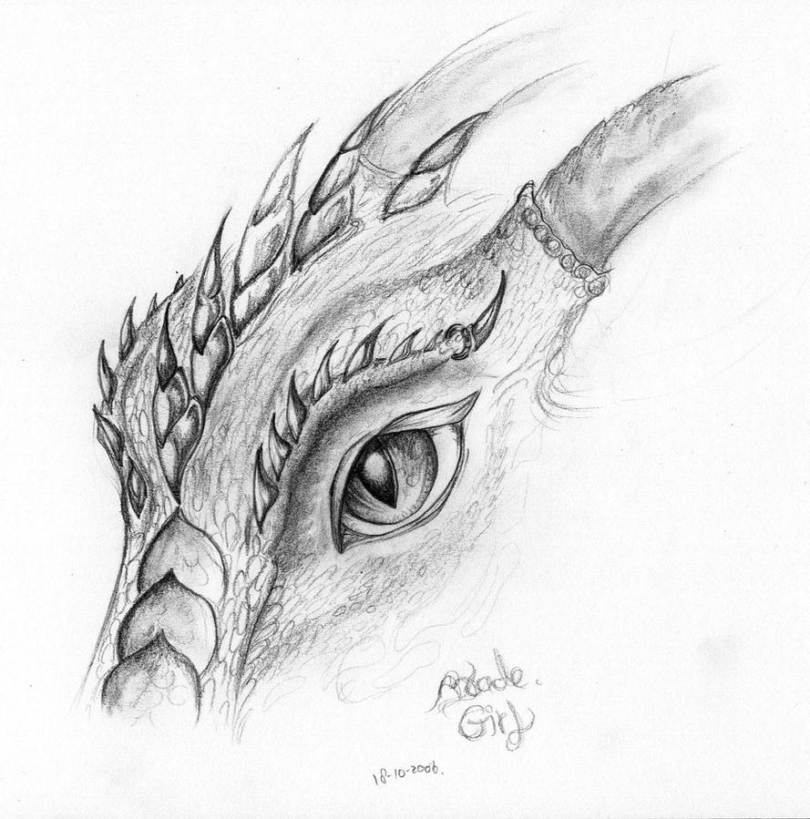 Dragon eye drawings in pencil