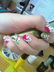 Zebra with fluo spots Nail Art