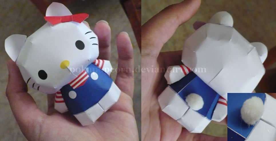 Papercraft for halloween free cute hello kitty paper model toy.