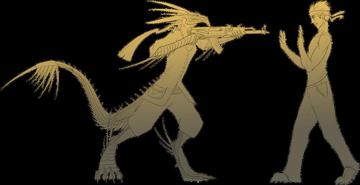 Line Art Dragon : Line art comish the wrong dragon by twilightsaint on deviantart