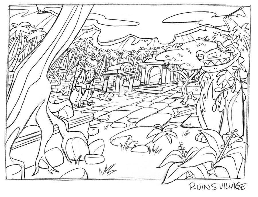 Line Art Jungle : Jungle ruins rough layout by tombancroft on deviantart