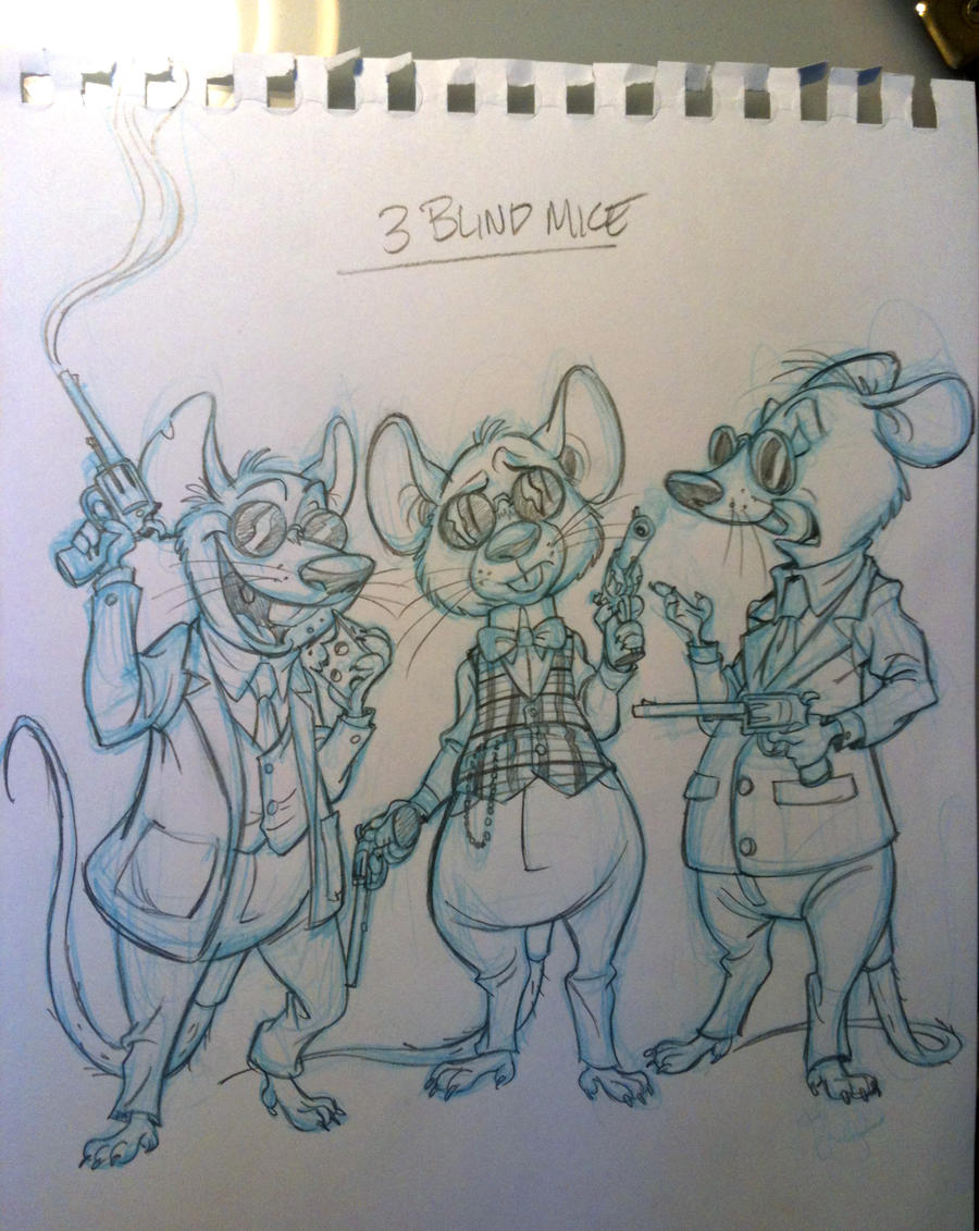 Three Blind Mice- with guns by tombancroft