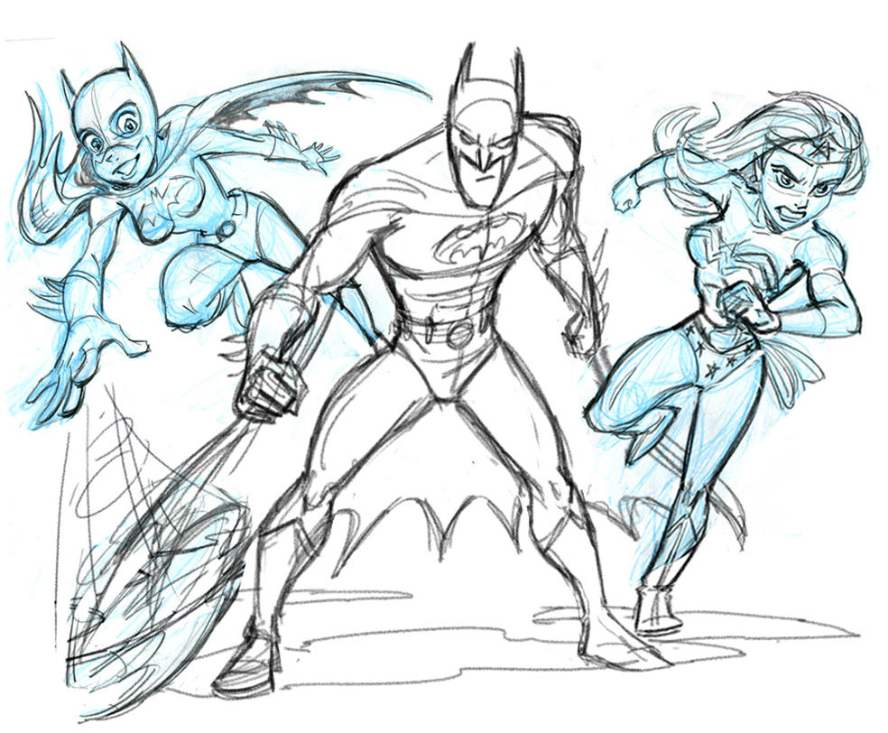 Bat Team plus Wonder Woman- Sketch by tombancroft