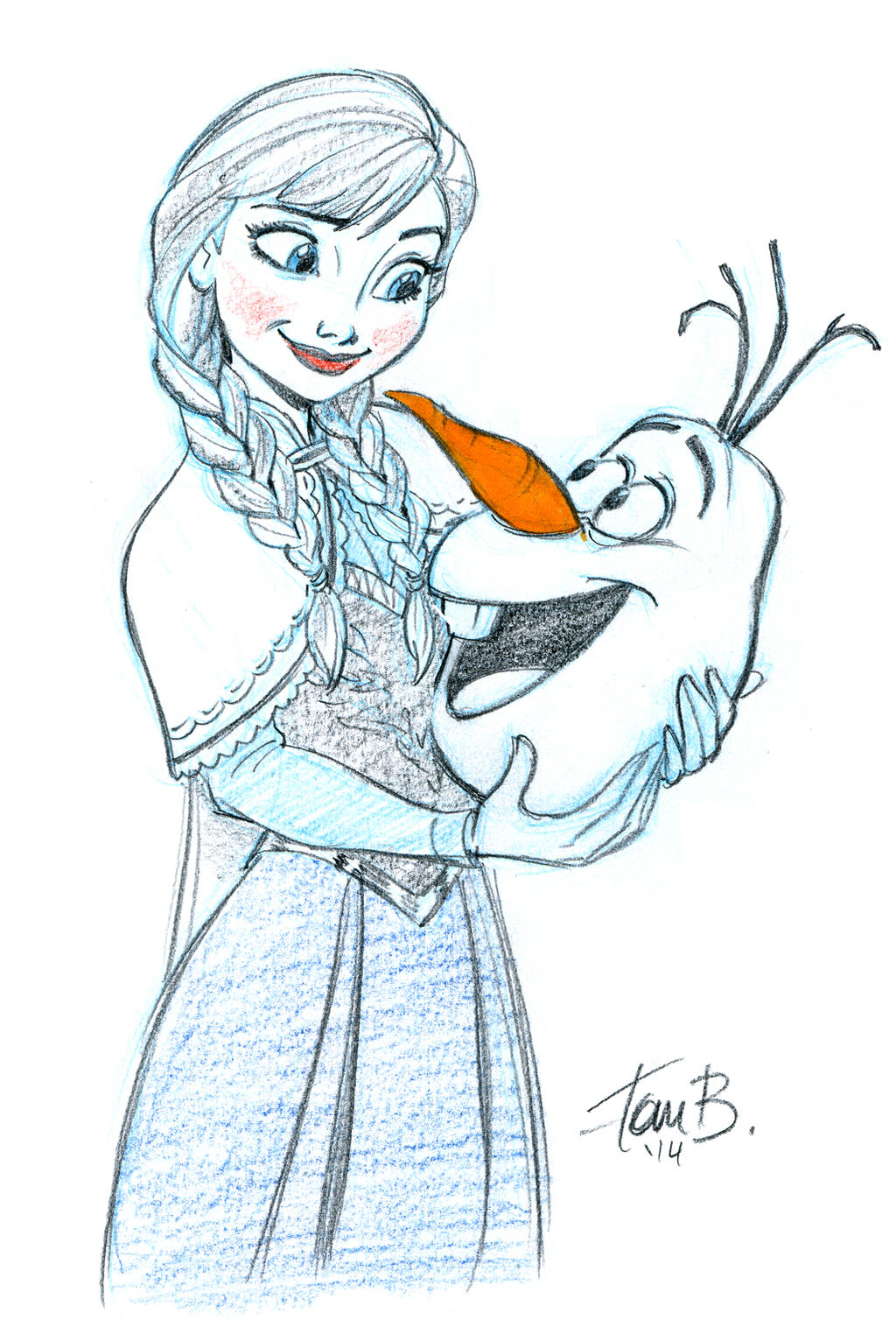 Anna and Olaf by tombancroft