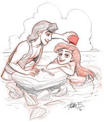 Aladdin and Ariel trade by tombancroft