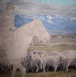 Arriero de la Patagonia, leo sobre tela.