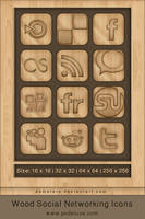 Wooden Social Networking Icons by demeters