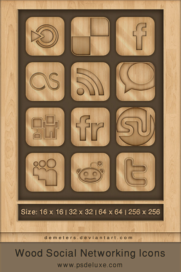 Wooden Social Networking Icons