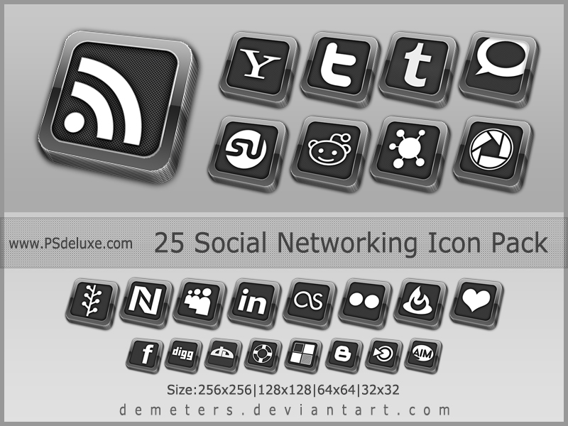 Elegant Social Network Icon pack - update 2012 by demeters