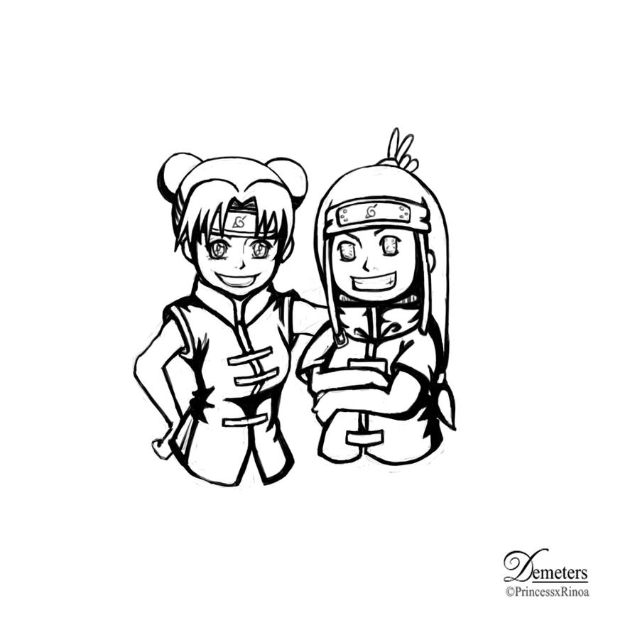 Neji and tenten LineArt by demeters