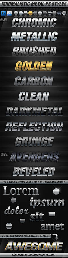Minimalistic Metal Photoshop Layer Styles