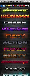 Various Modern Photoshop FX Layer Styles by KoolGfx