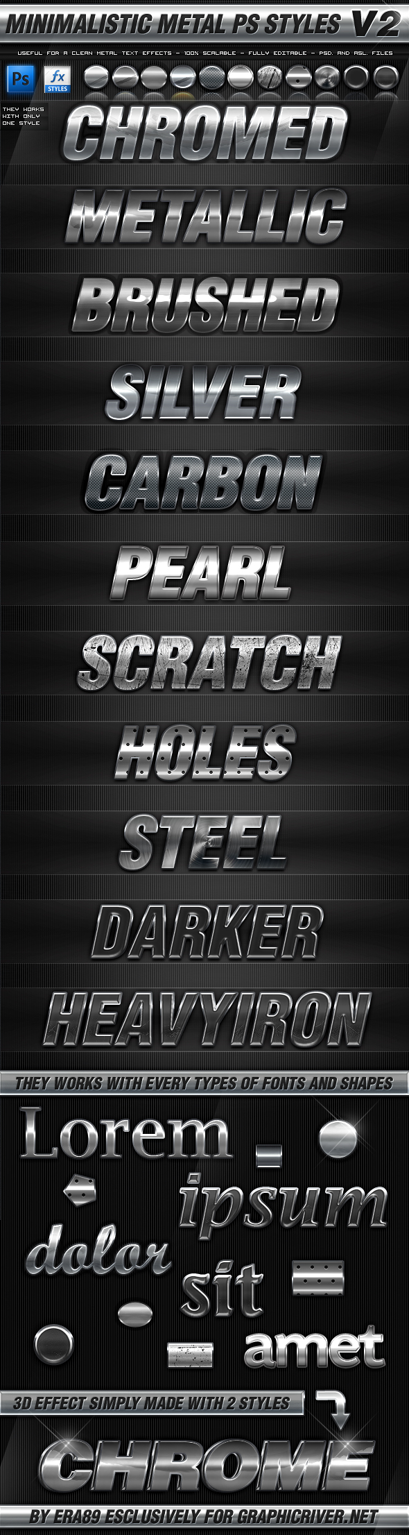 Minimalistic Metal PS Layer Styles V2 by KoolGfx