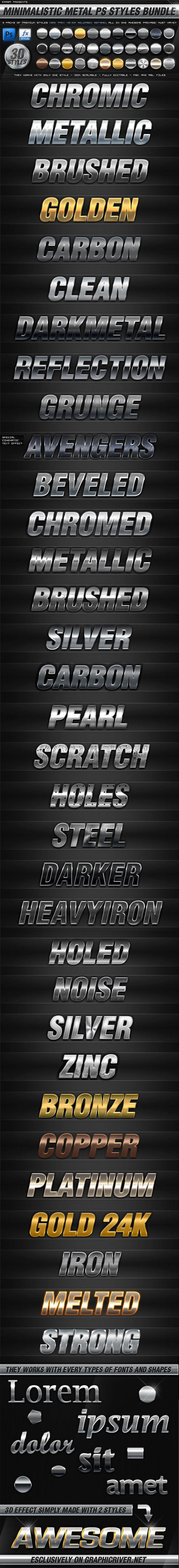 BUNDLE - 30 Minimalistic Metal PS Styles by KoolGfx