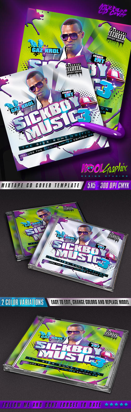 SickBoy Music - Mixtape CD Cover by KoolGfx