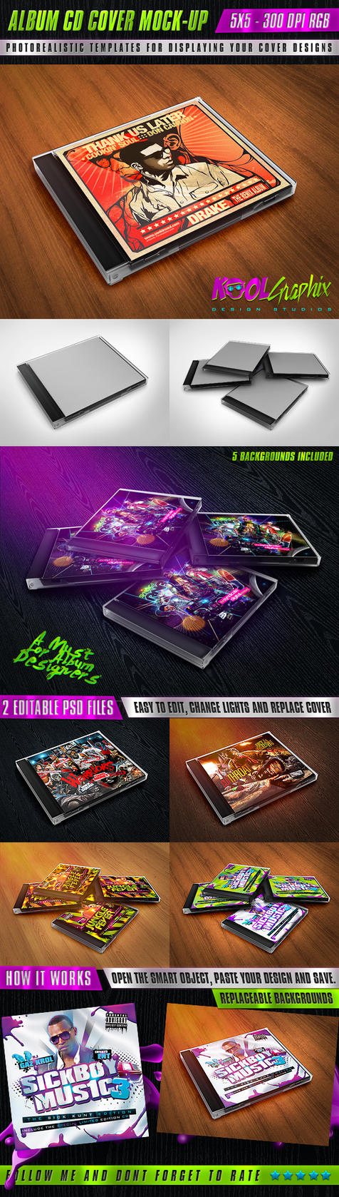 Album CD Cover Mock-Ups by KoolGfx