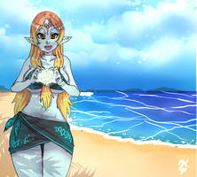 Midna in the Beach by ManiacPaint