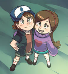 Dipper and  Mabel by ManiacPaint