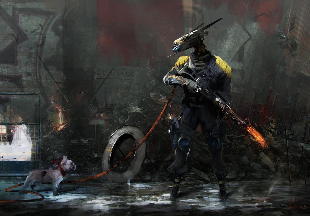 mech VS dog by AlexanderBrox0101