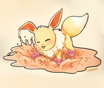 Eevee splashing in mud puddle