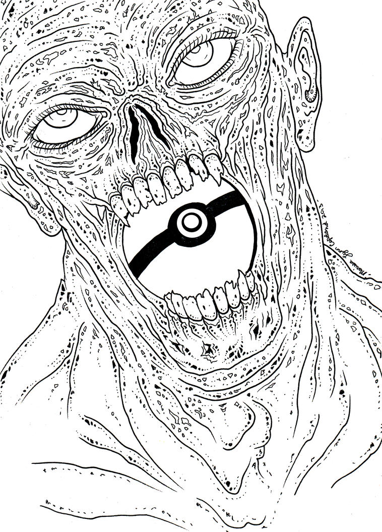 Zombie Line Art : Pokeball zombie line art by laughinggurl on deviantart