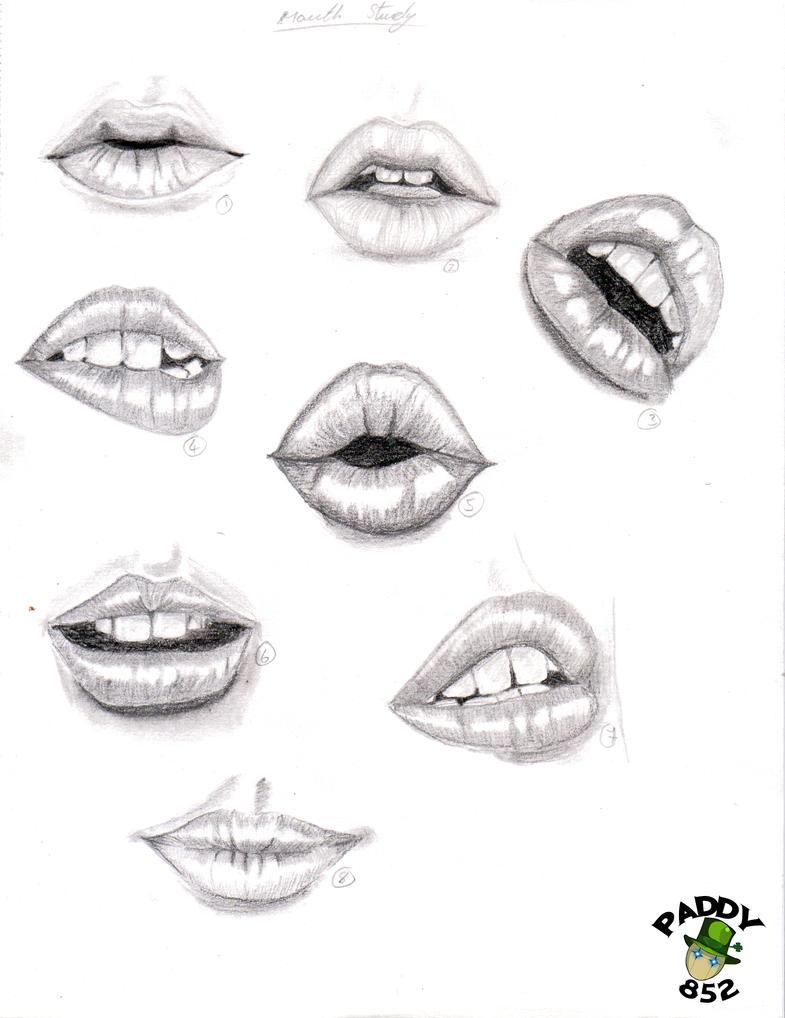 Рисунки губ и глаз карандашом