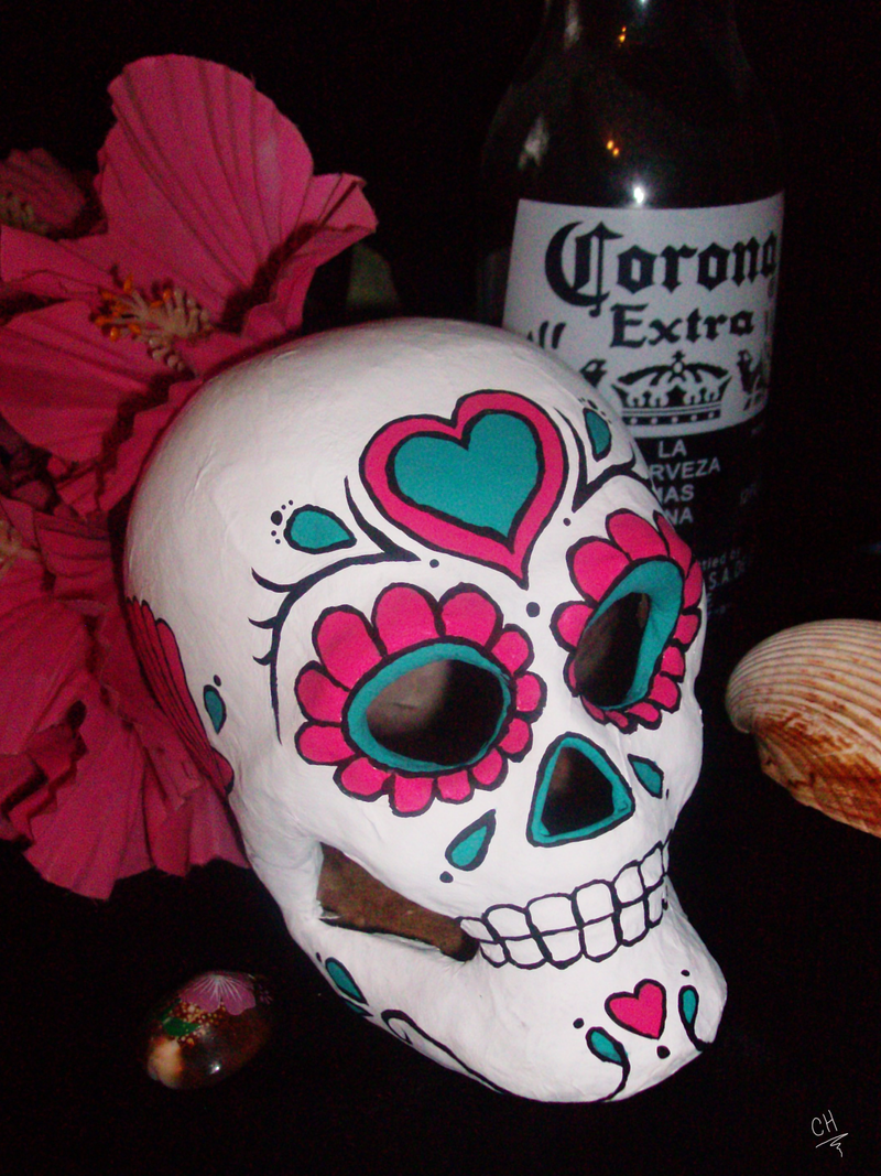 Pink Turquoise Sugar Skull 3 By Angelfish1021