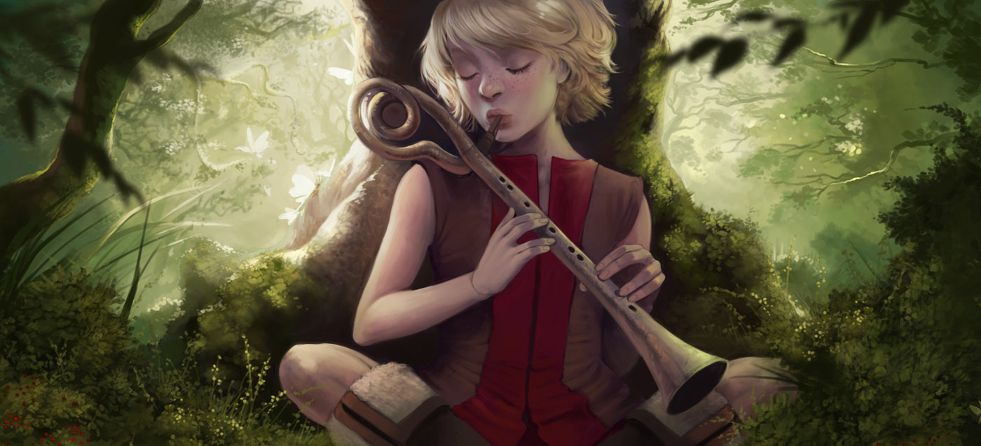 Sarina With Flute by atomhawk