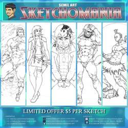 SKETCHOMANIA! $5 per character sketch!