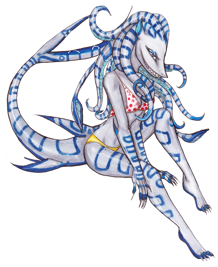 Day 8- Blue Ringed Squarktopus by drawitout