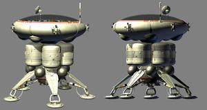 Stubby domed 70s sci-fi lander (WIP) by Paul-Lloyd