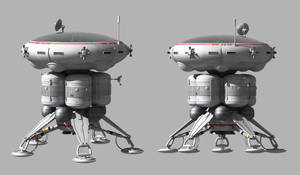 Stubby domed 70s sci-fi lander imported into Bryce