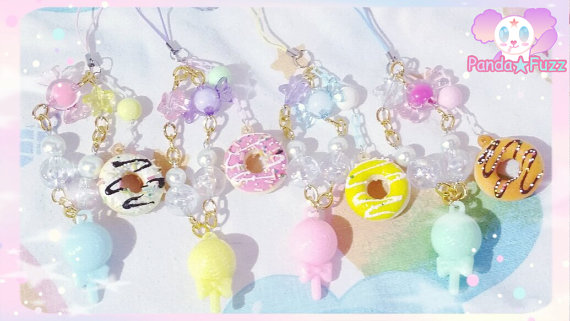 Scented Doughnut and Lollipop Mobile Charms by ZinniaLunaJaganshi