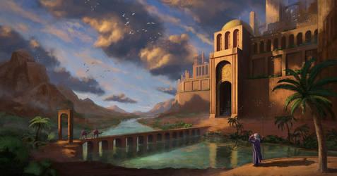 Way to desert city by arenirart