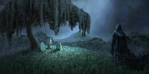 Willow and ghost visiting the graves at night by arenirart