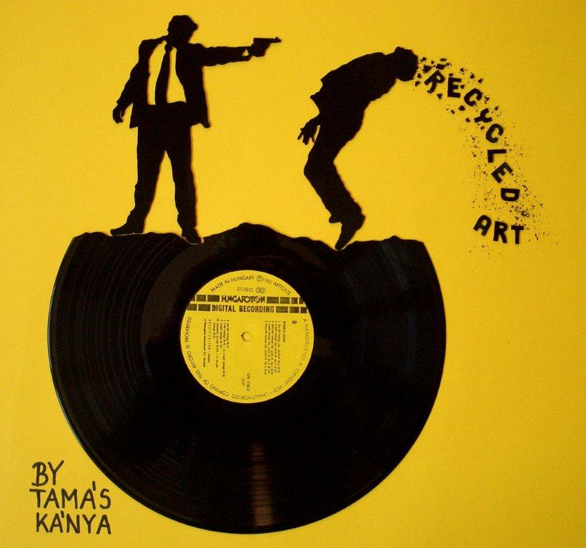 recycled  vinyl records art by tamas kanya by tom-tom1969