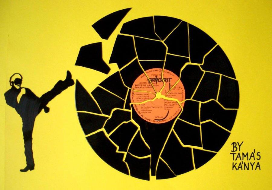 chuck norris vinyl records art by tamas kanya by tom-tom1969