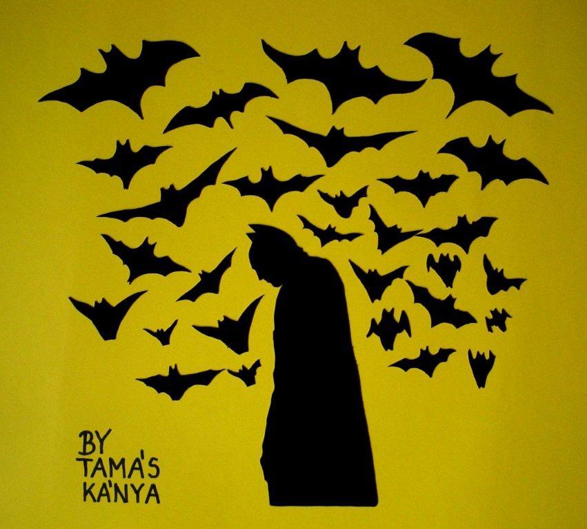 batman silhouette vinyl records art by tamas kanya by tom-tom1969