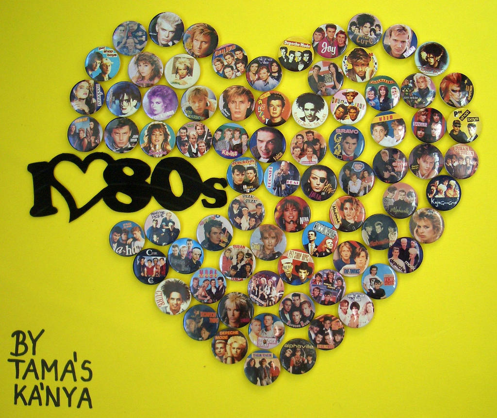 80's buttons,badges heart by tamas kanya by tom-tom1969