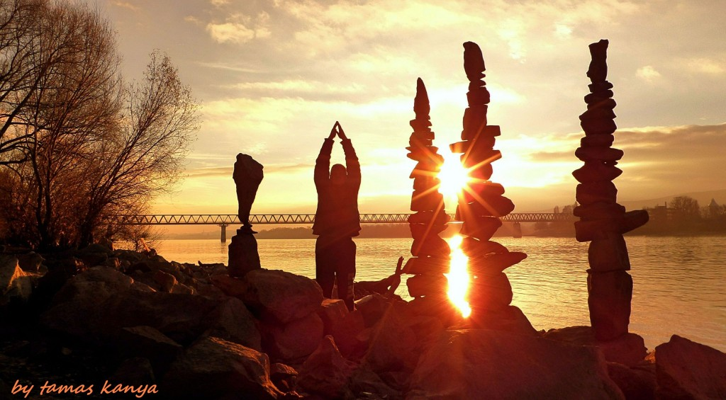Stone balance silhouette game in the sunset by tom-tom1969
