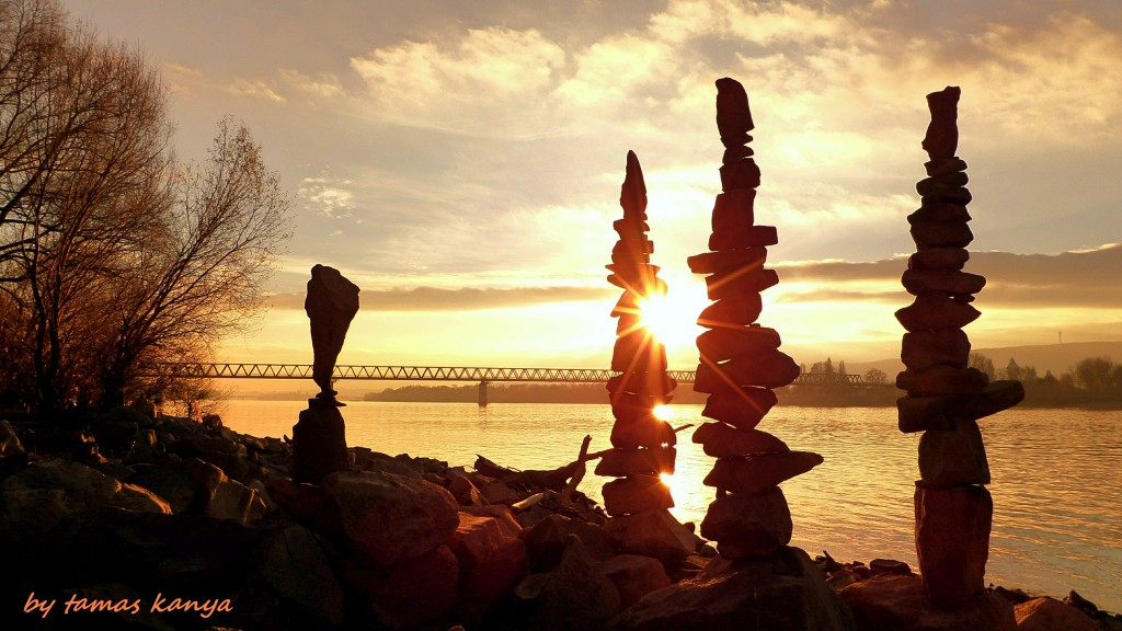 Stone balance silhouette in the sunset by kanya by tom-tom1969