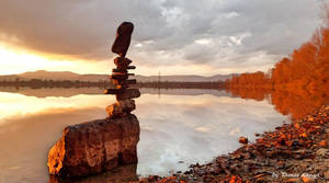 Stone balance art in sunset  by tamas kanya by tom-tom1969